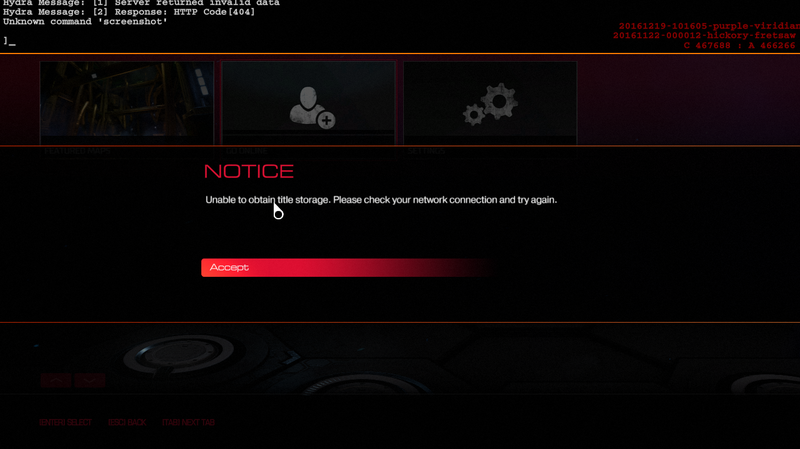 "Screenshot of a DOOM error saying ""unable to obtain title storage."""