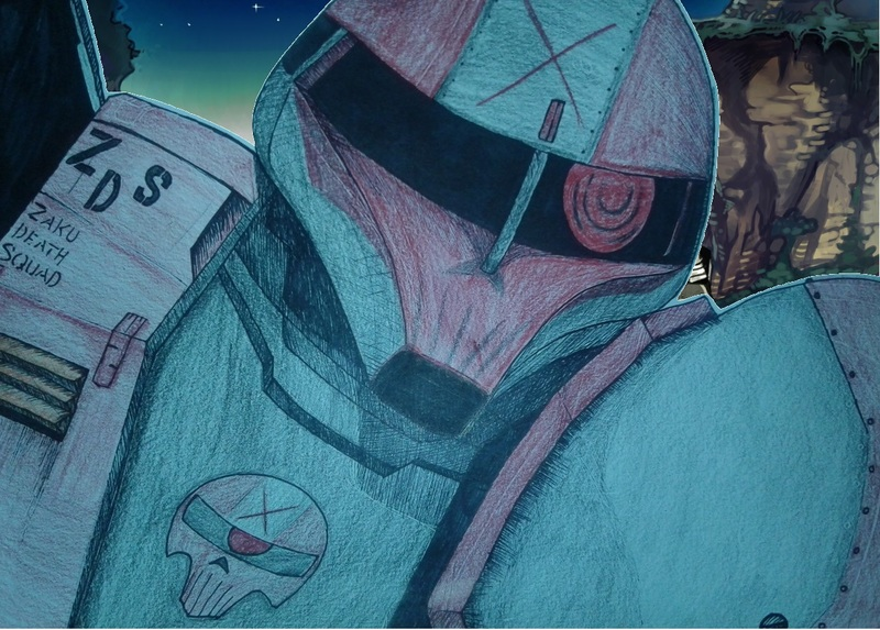 Another edited version of a Zaku 1 from Mobile Suit Gundam. The paint job is of my own design.