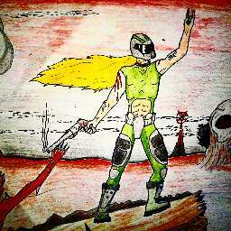 Heavily cropped and edited version of a drawing of myself as doomguy. (What we all want, right?)