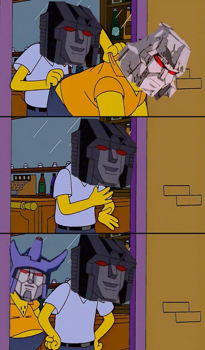 Starscream (Moe) throws Megatron (Barney) out of his establishment