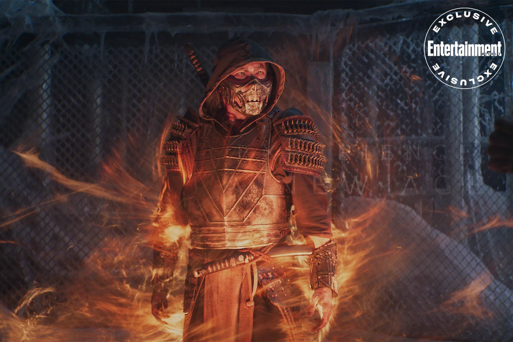Scorpion appears in a whirlwind of hellfire in the 2021 MK movie
